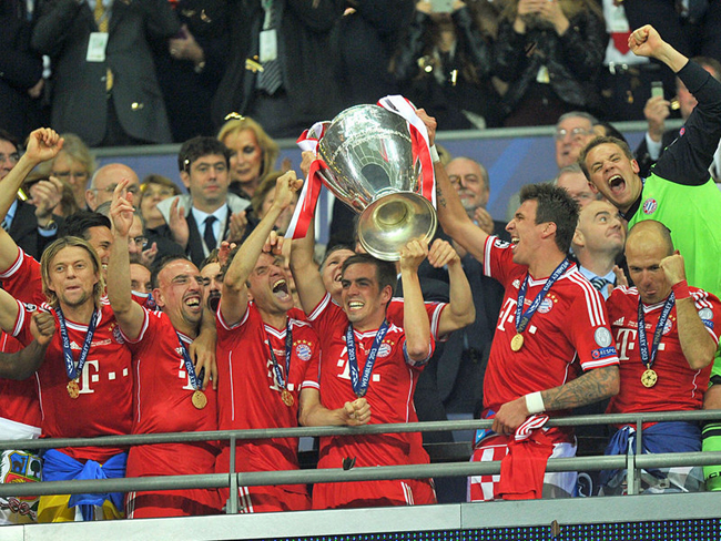 Bayern were all smiles as they lifted the trophy.