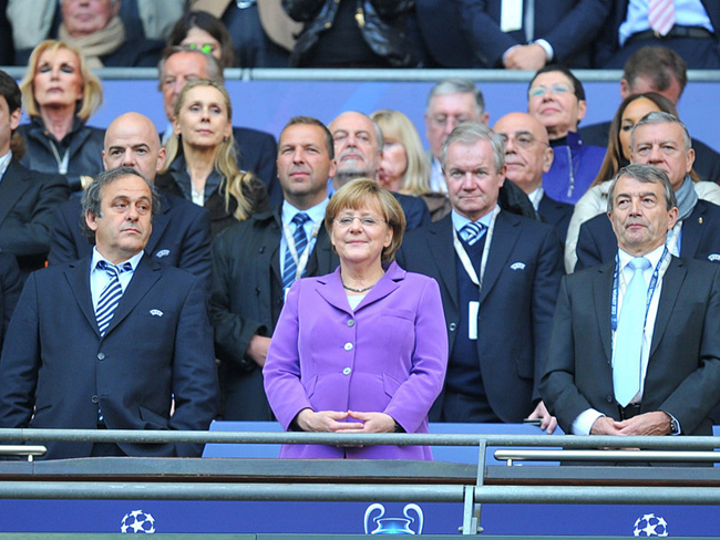 Chancellor of Germany Angela Merkel took centre stage in the VIP area.