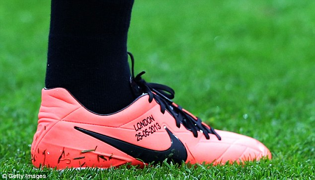 Das boot: A close-up of Lewandowski's boot for the final