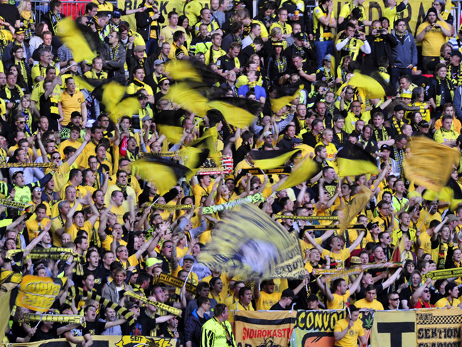 The Dortmund supporters were all in yellow and black.