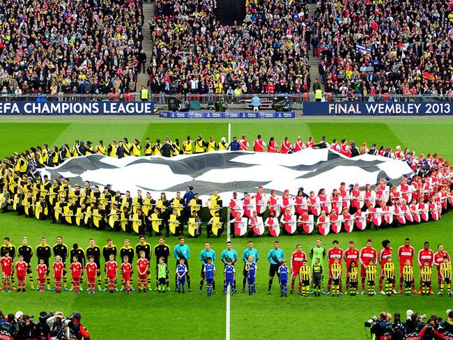 Both teams had to wait before kick-off.