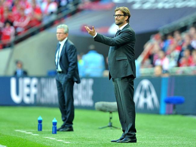 Jupp Heynckes and Jurgen Klopp kept track of the action.