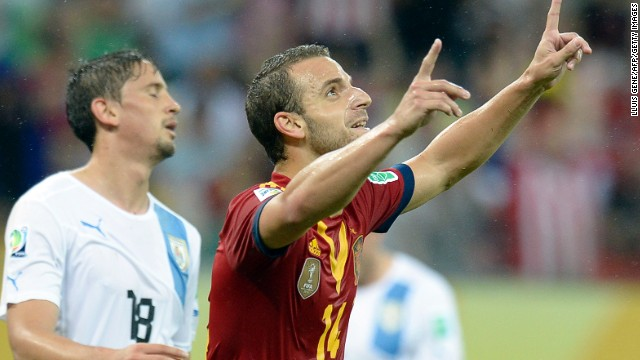 Roberto Soldado celebrates after scoring Spain's second goal in the 2-1 win against Uruguay at the Confederations Cup.