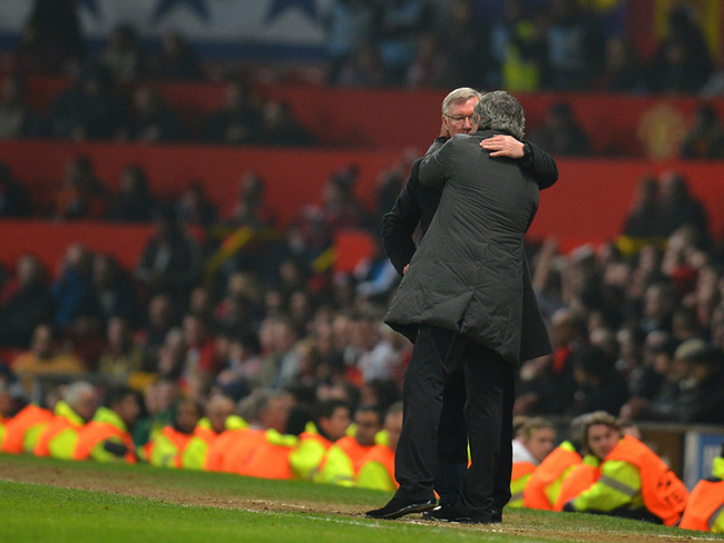Mourinho got the better of old adversary Sir Alex Ferguson, knocking Manchester United out of the Champions League in the round of 16