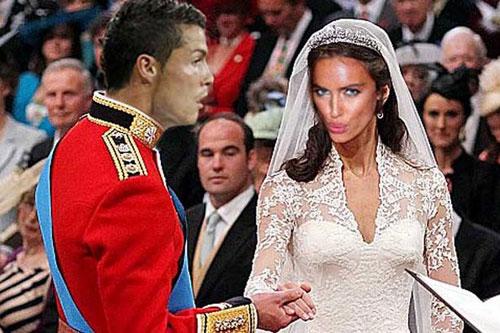 """Ảnh chế hài hước về đám cưới của cặp đôi CR7 - Irina Shayk theo phong cách Hoàng gia. Chân dài người Nga cuối cùng cũng được thở phào nhẹ nhõm khi """"đeo gông vào cổ"""" chàng tiền đạo đa tình C. Ronaldo."""