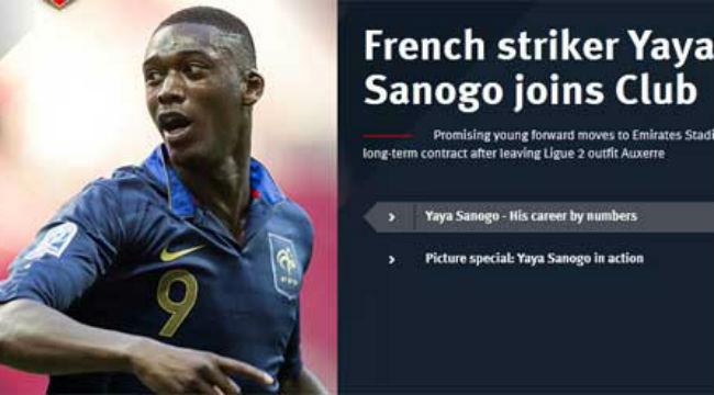 Arsenal thông báo đã chính thức có được Sanogo