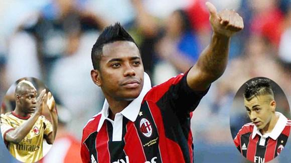 Milan đẩy Robinho (ảnh lớn) đi để đặt niềm tin vào Balotelli (ảnh nhỏ trái) và El Shaarawy