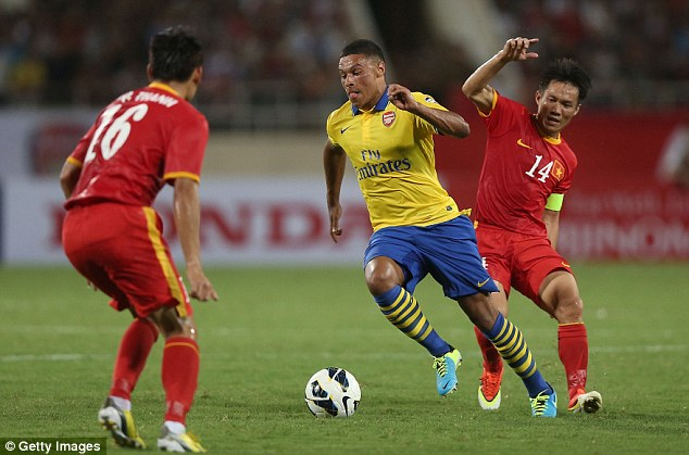 Speedster: Alex Oxlade-Chamberlain was also on target during the 7-1 win