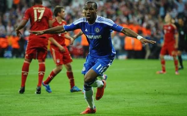 Cú đánh đầu vào lưới Bayern trong trận chung kết Champions League 2012 xứng đáng được xem là bàn thắng quan trọng nhất của Drogba ghi cho Chelsea. The Blues sau khi gỡ hòa ở phút 89, đã giành chiến thắng trong loạt luân lưu