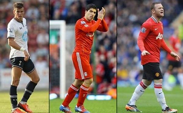 """Mùa hè năm nay ở Ngoại hạng Anh có ít nhất ba ngôi sao cũng được gắn mác """"không bán"""" là Gareth Bale (trái, Tottenham), Luis Suarez (giữa, Liverpol) và Wayne Rooney (Man Utd). Nhưng nhìn vào lịch sử chuyển nhượng đã qua, tương lai của họ có thể sẽ có những biến động trong thời gian ngắn tới đây..."""