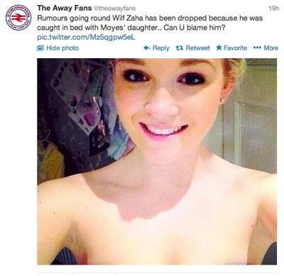 Có những tin cho rằng Zaha bị bỏ rơi bởi vì anh ta bị bắt quả tang ngủ với con gái Moyes. Các bạn có trách anh ấy không', tin đồn xuất phát từ Twitter The Way Fans.