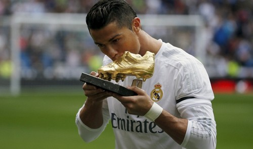dcda9e52ccfc Real Madrid's Cristiano Ronaldo kisses his fourth Golden Boot trophy before  their Spanish First Division soccer