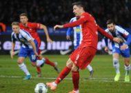 Bayern Munich scored four second-half goals to beat Jurgen Klinsmann's Hertha Berlin and move up to second in the Bundesliga.
